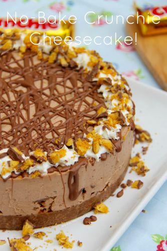 NO-BAKE HONEYCOMB CRUNCHIE CHEESECAKE - A Creamy, Chocolatey, Sweet, and delicious No-Bake Honeycomb Cheesecake using Cadbury's Crunchies – heaven!