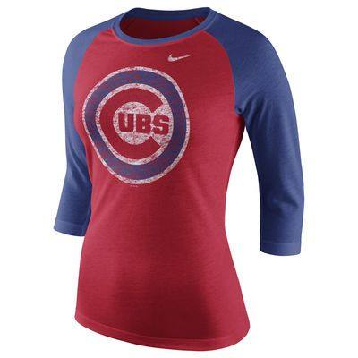 Chicago Cubs Nike Women's Logo Tri-Blend Three-Quarter Sleeve Raglan T-Shirt - Red