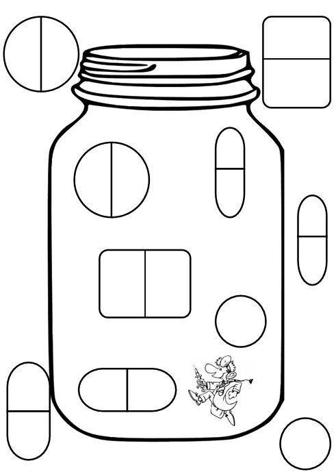 ziek zijn: Medicijnen Print deze afbeelding op verschillende kleuren papier uit en je hebt een sorteerspelletje.