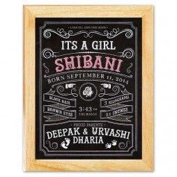 It's a Girl - Birth Announcement Chalkboard Canvas Print