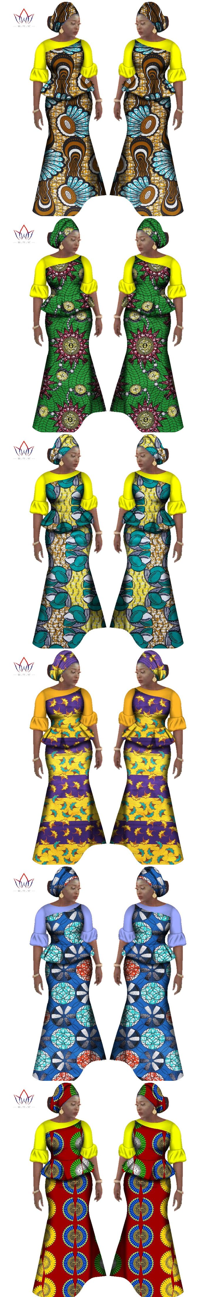 BRW 2017 Autumn African Skirt Sets for Women Bazin Elegany Africa Clothing Dashiki Flowers Traditional African Clothing WY2349