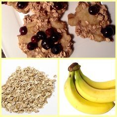 Recipe for the EASIEST HEALTHIEST COOKIE RECIPE IN THE WORLD!  ✌ The only 2 ingredients are: 1 banana and 1 cup dry oats. That's it! . You can add berries if you want but it is totally not necessary at all. :) I am using fresh blueberries. ➡ Mush everything in a bowl with your hands then scoop onto a cookie sheet! You can give it into the oven for around 13 minutes or in the microwave for 40 seconds - 1 Minute.  YEEEEY, that's it! ✔  Now you're having the best Cookies ever …