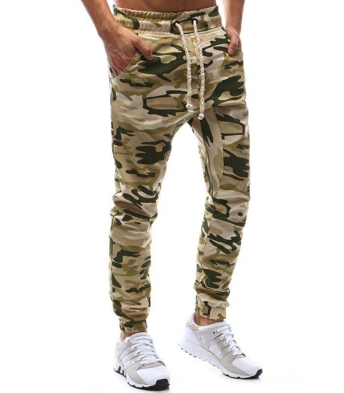 Béžové maskáčové jogger nohavice  a1a5a0a85e