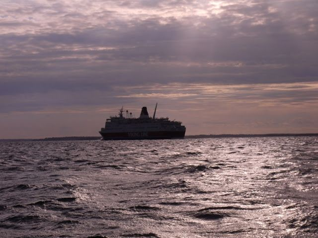Crossing from Åland to Sweden - a ferry in sight