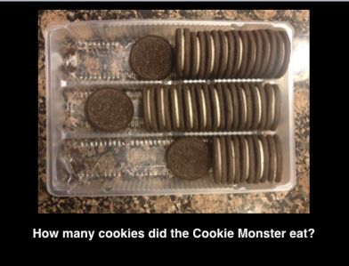 Here's a 3-Act Task where Act 1 shows a cookie monster stealing a bag of cookies and eating them. The opened and partially-eaten package serves as the vehicle for students' noticing and wondering.