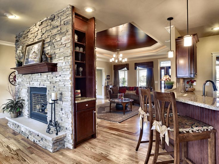 Two sided fireplace and Brick fireplace wall