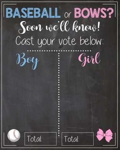 Baseball or Bows Gender Reveal Guess sign baby shower chalkboard PRINTABLE poster boy or girl. blue or pink