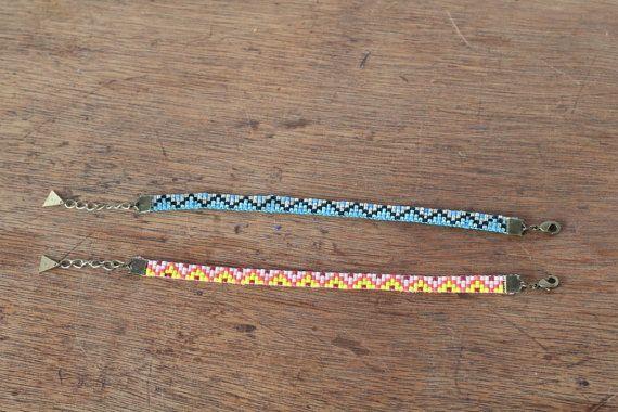Bracelet woven hand beaded Peyote motif geometric by ChocLace