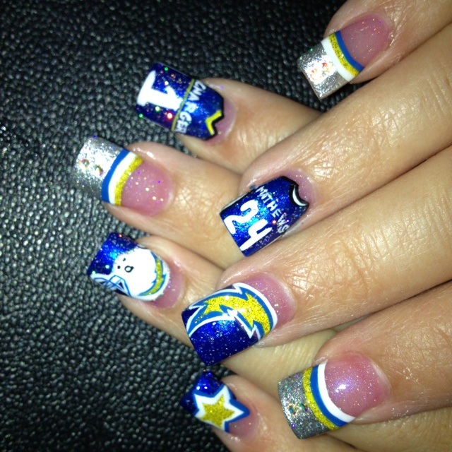 Chargers nail art done by Katelyn!!! | Chargers | Pinterest | Fun ...