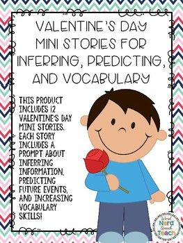 This product includes 12 seasonal mini stories. Each story includes one inferring prompt, one predicting prompt, and one vocabulary question.To prepare: Print desired worksheets.To use: have the students read the story or read the story to the students.