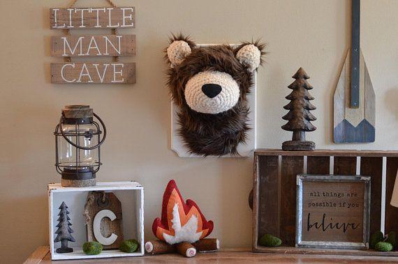 Woodland Nursery Playroom Decor Faux Bear Taxidermy Plush Bear
