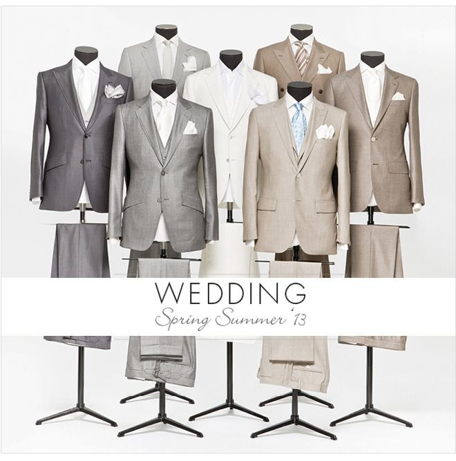 It's about the groom too!  Like these custom suits by Louis Copeland in the classic charcoal grey and beige. #men's suits#men's fashion for weddings #mens suits for weddings