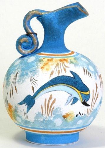 Minoan Dolphin Oinochoe Greek Vase, terracotta Greek Vases, Minoan ...