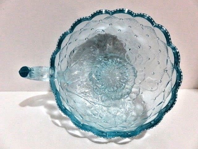 LENOX IMPERIAL GLASS SIGNED ICE BLUE GLASS PANSY QUILTED BON BON HANDLE CANDY D #LenoxImperialGlass #Victorian