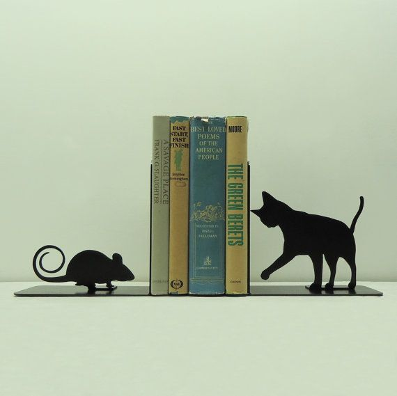 Cat and Mouse Metal Art Bookends - Free USA Shipping       $64.99