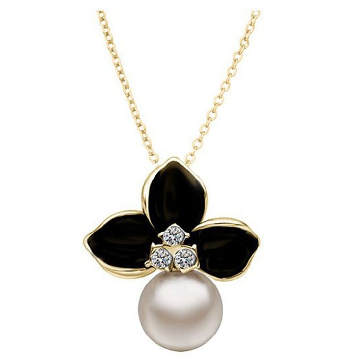 Beora 18k Gold Plated Crystal Pearl Pendant Necklace @ Trendymela.com