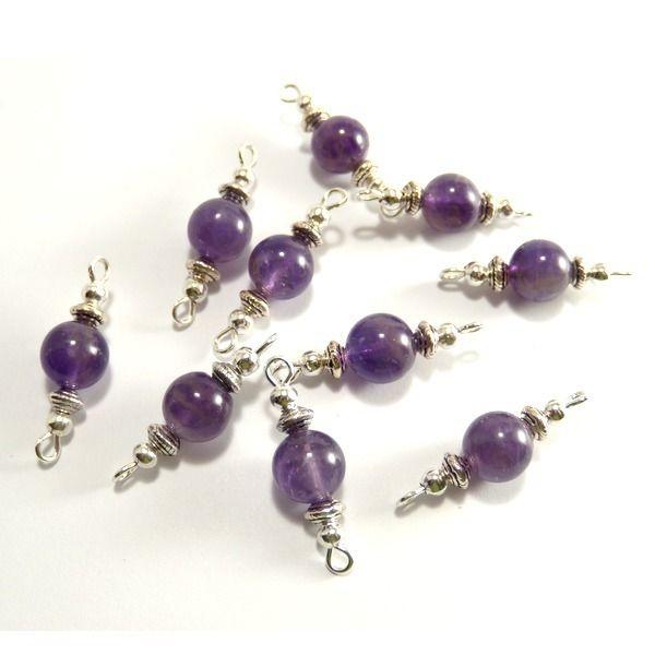 10 Perles Améthyste - connecteurs 2 anneaux argentés : Perles pierres Fines, Minérales par clarashop