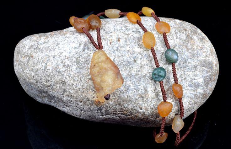 Handmade Agate beeds necklace,Raw rock necklace, rough stone necklace, long beaded Necklace, Gemstone necklace, by AmazingGemstone on Etsy