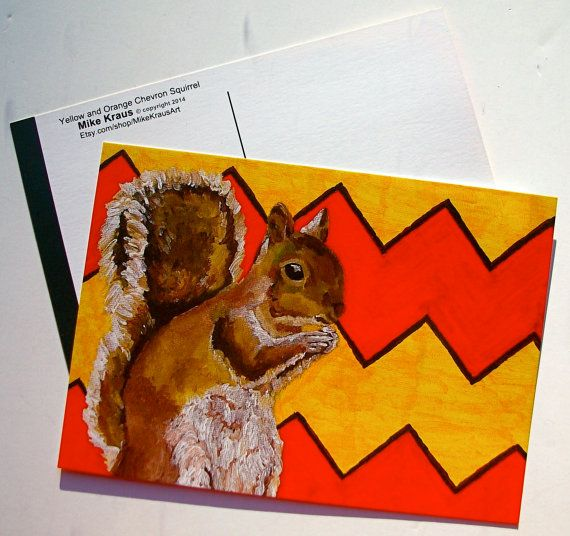 Three 3 Yellow and Orange Chevron Squirrel print by MikeKrausArt