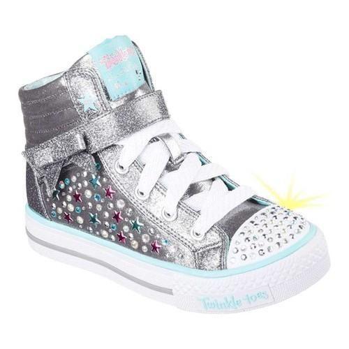 Girls' Skechers Twinkle Toes Shuffles Starry Spirit High Top Gunmetal/