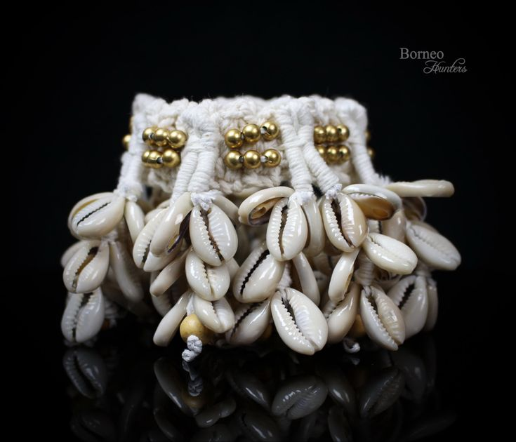 Shell Armband-Armlet - Upper Arm Cuff Woven Fringe Boho/Hippie/Bohemian Upper Arm Cuff -Seven Linked Strand Cowrie Shell Tribal Chic Jewelry by BorneoHunters on Etsy