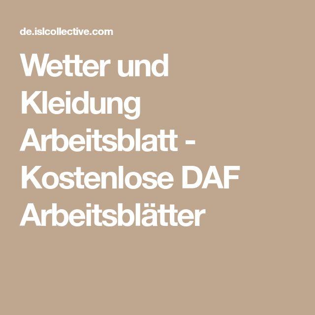 Wetter und Kleidung Arbeitsblatt - Kostenlose DAF Arbeitsblätter