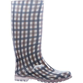 Beige Check Wellington Boots