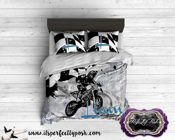 Motocross Flag And Bike Theme Bedding Custom Design And