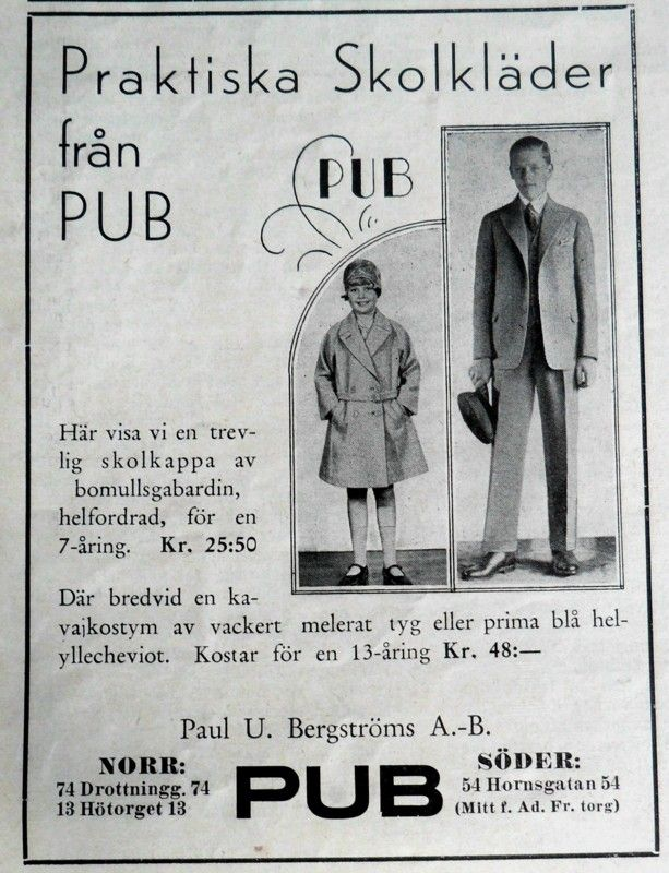 ad for school clothes from PUB, leading department store in Stockholm 1930