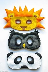 "felt masks. cute gift idea for the lil boy ""nephews"""
