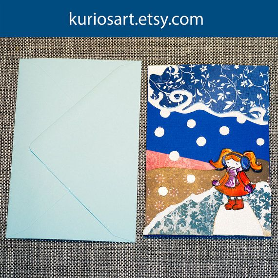Note card - Girl in Snow: One of a kind greeting card, layered 3d effect, no text inside, handmade in Norway by Toddy