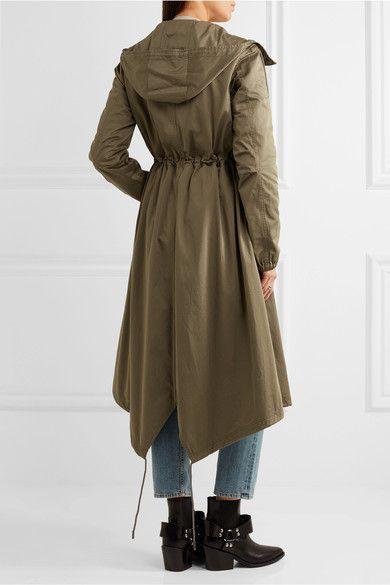 MM6 Maison Margiela - Hooded Cotton-gabardine Trench Coat - Army green - IT44