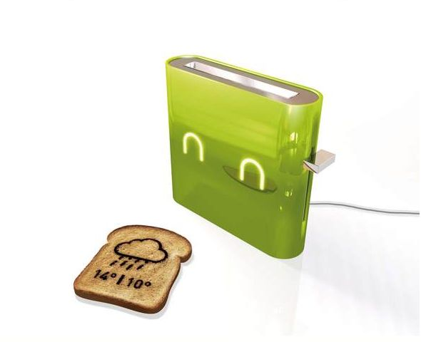 Jamy is a concept toaster by Nathan Brunstein that prints out the day's weather forecast on your toast.