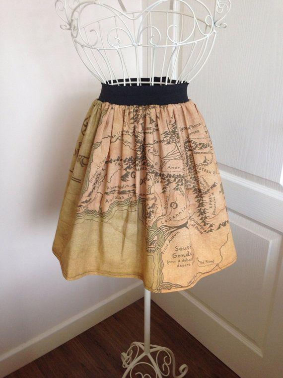Middle Earth map inspired full skirt