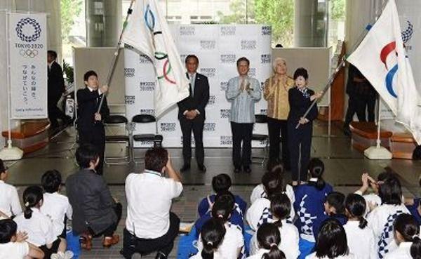 オリンピック旗が沖縄に…東京五輪・パラリンピック フラッグツアー歓迎式が開催