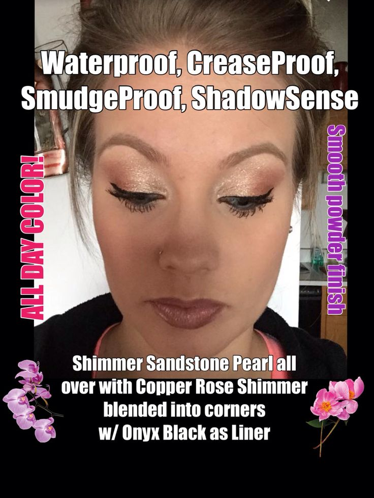 Senegence ShadowSense SmudgeProof waterproof CreaseProof Copper Rose Shimmer and Sandstone Pearl Shimmer with Onyx liner