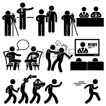 News Reporter Anchor Woman Newsroom Man Talk Show Host Stick Figure Pictogram Icon photo