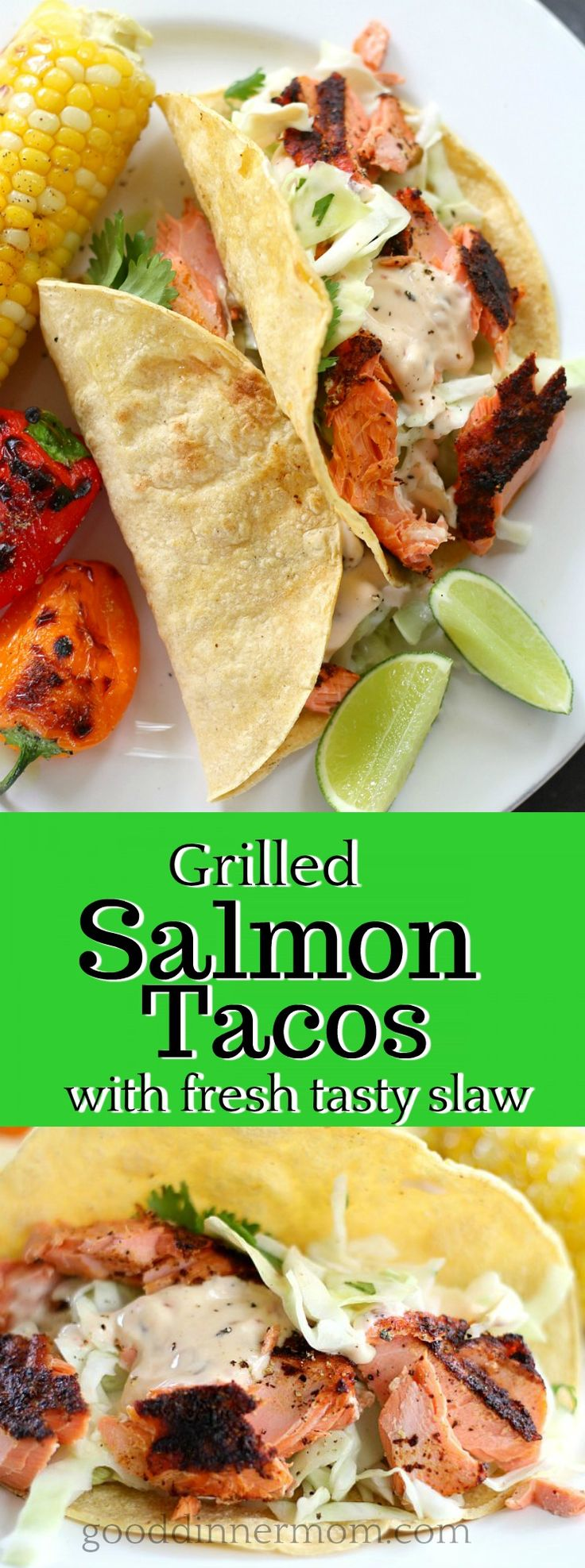 Fresh, blackened salmon, grilled to perfection and finished with a fresh, tangy cole slaw for the perfect grilled fish taco.