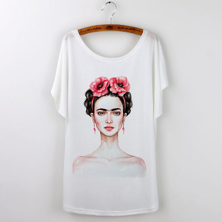 Frida Kahlo Print T-Shirts For Women 2016 Summer Black Tees Plus Size Tops Camisetas Mujer Batwing Sleeve Harajuku Hipster Shirt