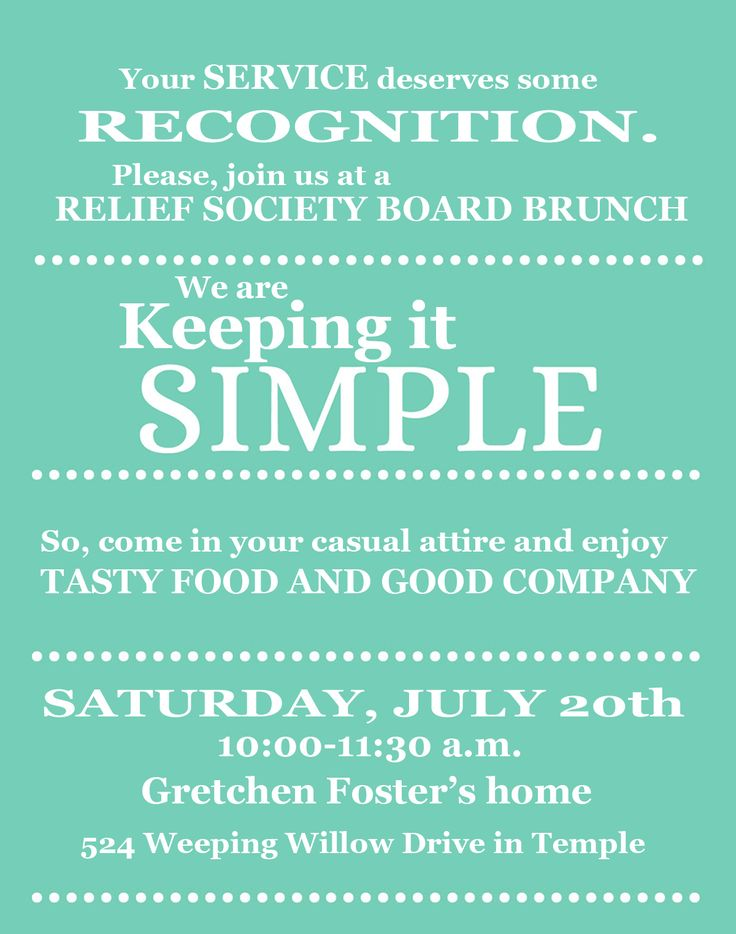 Sisters of the Temple 2nd Ward Relief Society: Keeping it Simple, RS Thank You Brunch!