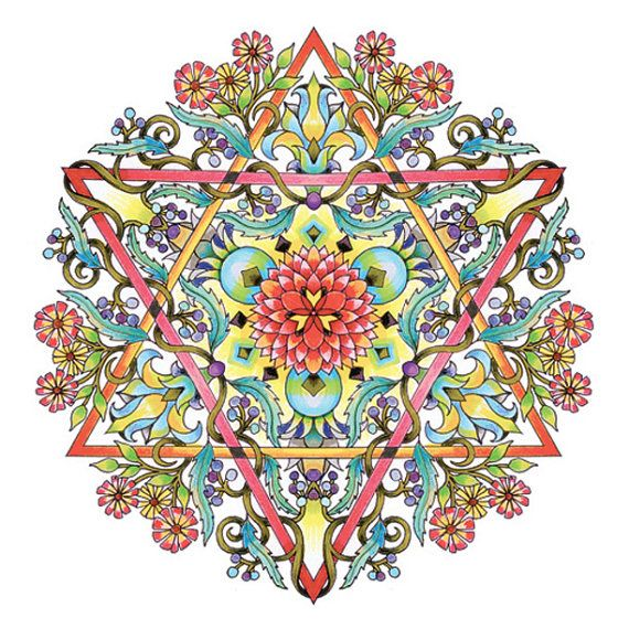 Mandalas adulte Coloriages étoile de David par emerlyearts