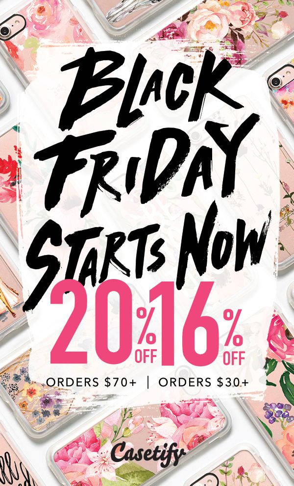 Casetify Black Friday Pre-Sale starts NOW. 16% OFF for $30+ orders, 20% OFF for $70+ orders. Shop the Black Friday Sale Early. Get your iPhone 7 Cases, iPhone 7 Plus Cases, other phone cases and accessories here >> https://www.casetify.com/?preview_voucher=BLACK2016