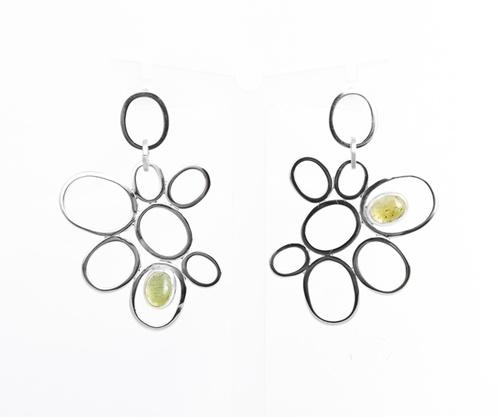 Golden Orchid Silver Earrings