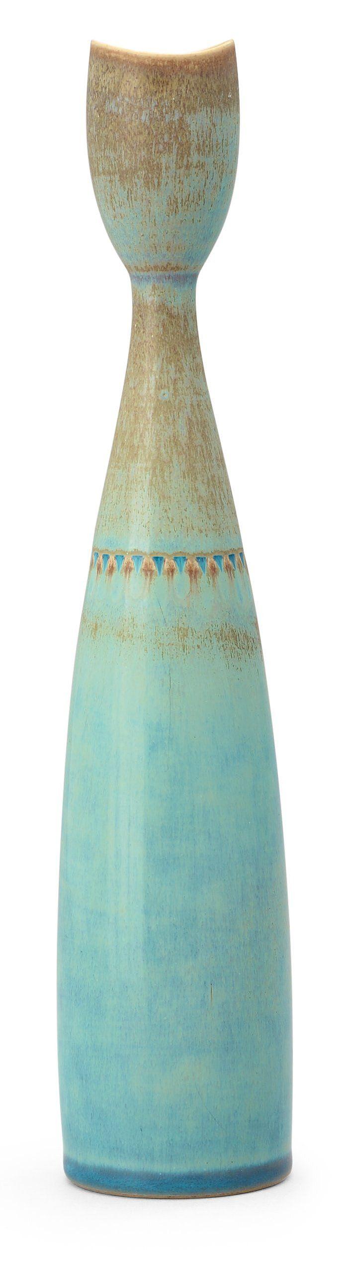 Stig Lindberg; Glazed Stoneware Vase for Gustavsberg, 1953.
