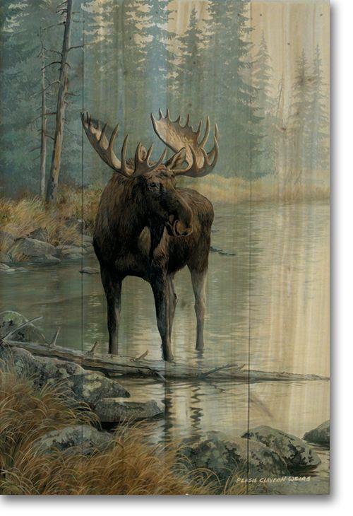 Quiet Water Moose Wood Wall Art