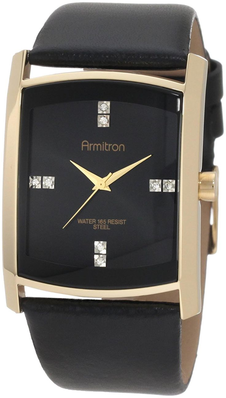 Armitron Men's 204604BKGPBK Swarovski Crystal Accented Gold-Tone Black Leather Strap Watch * Learn more by visiting the image link.
