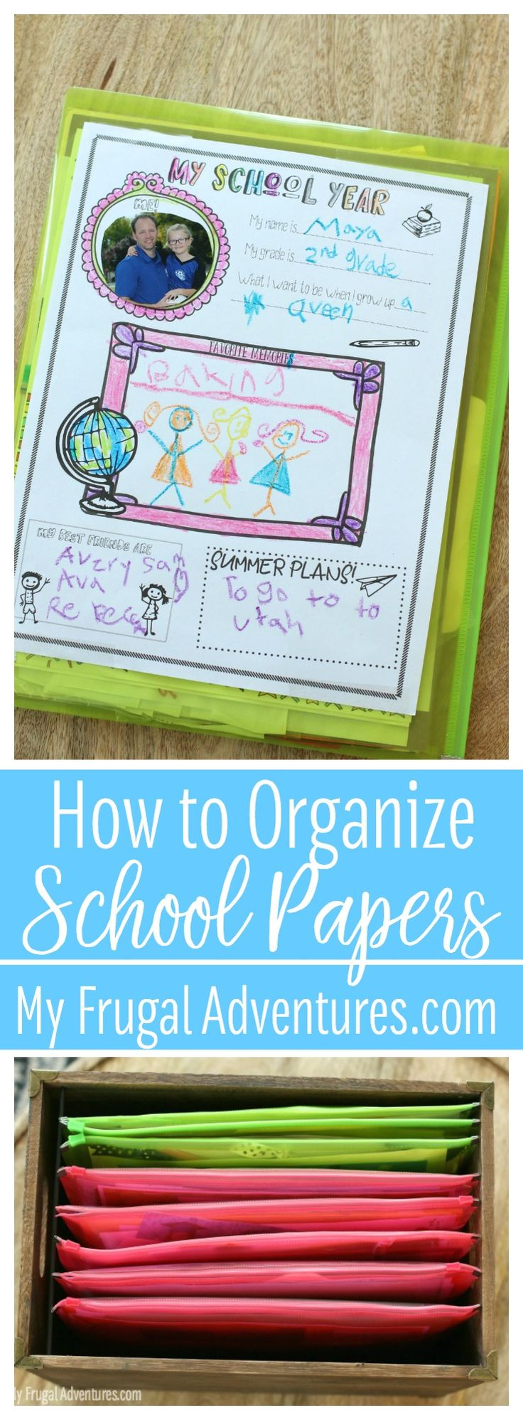 How to Organize School Papers- free printable memory sheet