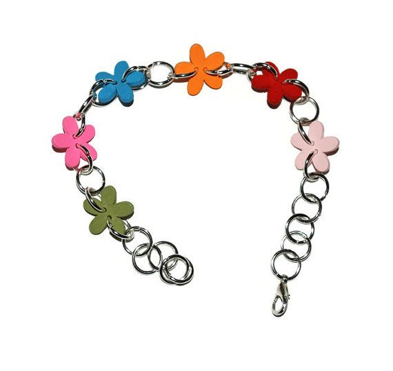 Bracelet, handmade with wooden flower, spring flowers, teachers Gifts, colorful