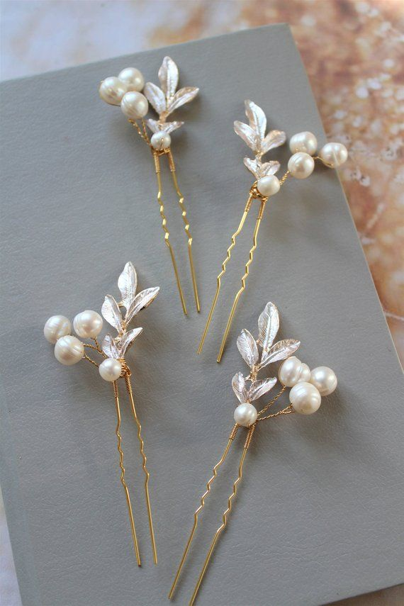 Crystal bridal hair pins Bobby pin Floral gold wedding hairpiece Headpiece bride Golden accessory for hairstyle Jewellery Hairpin Bridesmaid