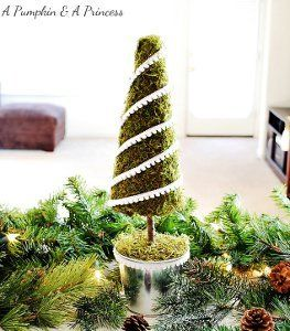 Mossy Tabletop Christmas Tree | AllFreeChristmasCrafts.com
